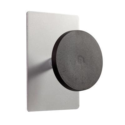 Alba patere magnetique simple - coloris gris metal et noir