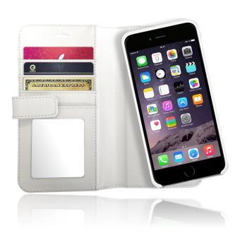 Etui Portefeuille Cuir Veritable avec coque protection amovible magnétique pour iPhone 6s Plus, 6 Plus