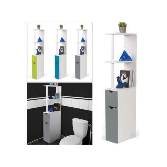 22 sur meuble wc tagre bois gain de place pour toilette 2 portes grises installations salles de bain achat prix fnac