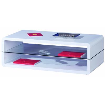 Table basse Xono coloris blanc laqué, 120 x 60 x 40 cm -PEGANE-