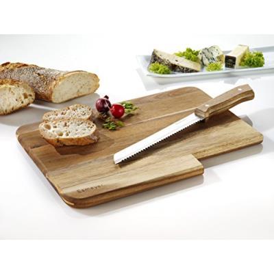 Esmeyer 304-014 jack planche à découper avec couteau à pain, planche et couteau manche bois d'acacia, couteau lame en acier lame de, bois, marron
