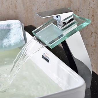 Robinet salle de bain cascade avec bec en verre, design contemporain
