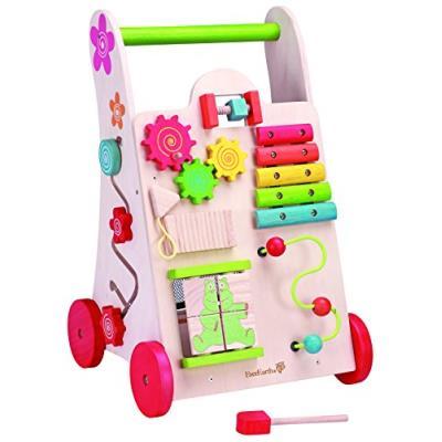 Everearth - 30949 - jouet de premier age - chariot de marche avec jeu en bois fsc