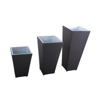 Lot de 3 cache pots d 39 ext rieur r sine tress e gris for Cache pot exterieur