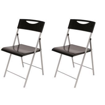 alba lot de 2 chaises pliables cpsmile noir accessoires bureautique top prix fnac - Chaises Pliables