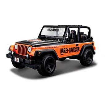 maisto 2043057 maquette de voiture jeep wrangler rubicon noir orange echelle 1 24. Black Bedroom Furniture Sets. Home Design Ideas