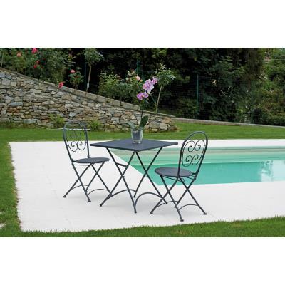 Ensemble de jardin table pliante + 2 chaises en fer forgé coloris gris - A USAGE PROFESSIONNEL - PEGANE -