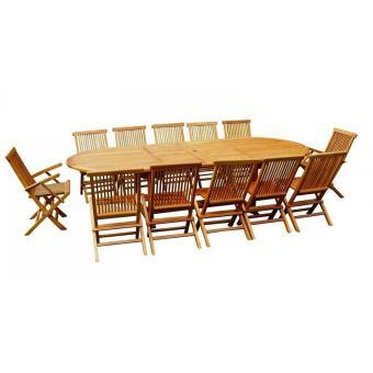 Le Sumba : salon de jardin teck huilé 12/14 personnes , 1 table XXL ...