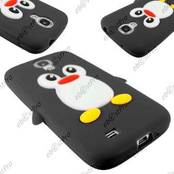 ebestStar ® Coque Pingouin Silicone Souple Etui Housse Design Fun Film protection d'écran pour Samsung Galaxy S4 i9500 i9505, Couleur Noir