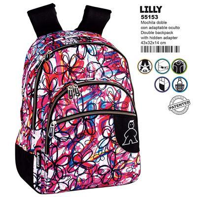 Montichelvo Montichelvo Double Backpack A.O. Cmp Lilly Cartable, 43 cm, Multicolore (Multicolour)