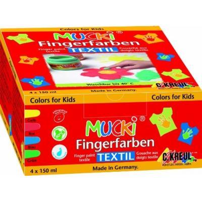 C.kreul gouache aux doigts textile mucki, 150 ml, kit de 4 28400