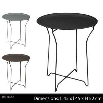 table en metal bar appoint pliante pliable camping portable jardin  exterieur ou interieur gueridon noire
