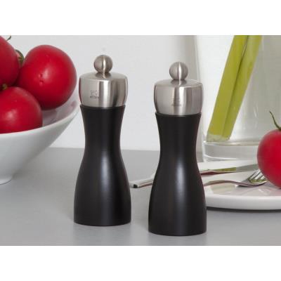 Peugeot - Duo de moulins à poivre et à sel en bois et inox couleur noir 15 cm