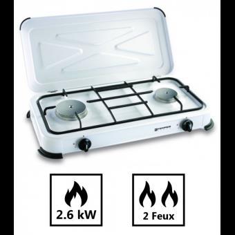 bc146adeed5c7 -20€10 sur Plaque de cuisson 2 feux 2600W à gaz butane ou propane -  Matériels de camping et randonnée - Achat & prix | fnac