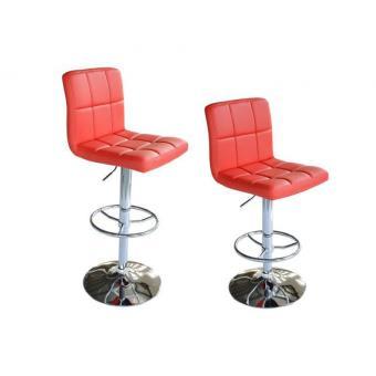 Paire De Tabourets Chaise De Bar Simili Cuir Rouge