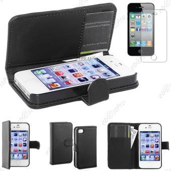 ebestStar pour Apple iPhone 4S 4 Houe Coque Etui Portefeuille Folio book livre Simili Cuir Film protection d ecran Couleur Noir