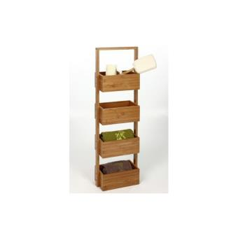 meuble tagre 4 cases en bambou rangement salle de bain achat prix fnac