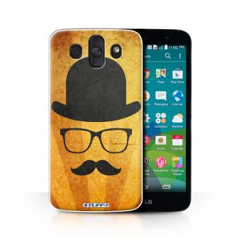 Coque De Stuff4 Etui Housse Pour LG AKA H788 Chapeau Melon Design Retro Moustache Collection
