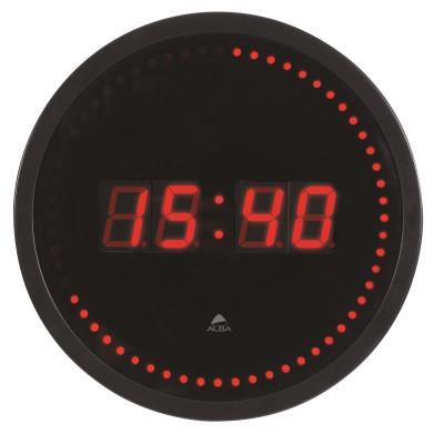 Alba horloge murale led - coloris noir et rouge