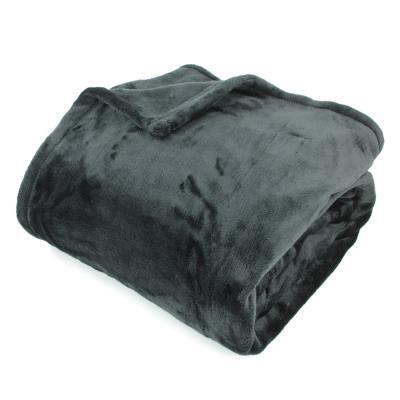 Couverture polaire 220x240 cm Microfibre 100% Polyester 320 g/m2 VELVET Noir