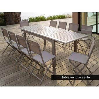Table extensible rectangulaire Azua Alu 6/10 places Taupe ...
