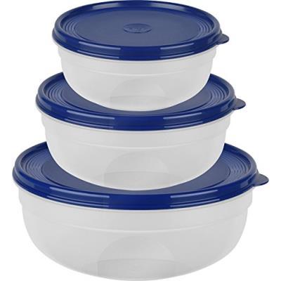 Emsa 517097 super line set de boites de conservation de, rond plat, 0,8 1,4 2,4 l, plastique, bleu, 23,5 x 23,5 x 9,1 cm