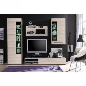 skin meuble tv mural avec led 250cm d cor chene naturel meuble tagere murale vitrine. Black Bedroom Furniture Sets. Home Design Ideas