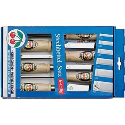 Jeu de 6 ciseaux en acier à outils spécial avec manche en bois n° 1111 SB, Contenu : 6 10 12 16 20 26 mm
