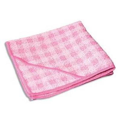 Lot de 2 Chiffons micro fibre double action spéciale sanitaire, format 32 x 32 cm coloris rose