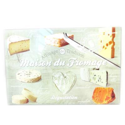 Les Trésors De Lily [M3805] - Planche à découpe / dessous de plat 'Terroir Français' maison du fromage (30x20 cm)
