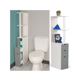 22 sur meuble wc tag re bois blanc et gris gain de place pour toilettes 3 portes - Meuble tv gain de place ...