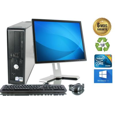 Unite Centrale Dell 780 SFF Core 2 Duo E7500 2,93Ghz Mémoire Vive RAM 8GO Disque Dur 500 GO Graveur DVD Windows 10 - Ecran 19(selon arrivage) - Processeur Core 2 Duo E7500 2,93Ghz RAM 8GO HDD 500 GO Clavier + Souris Fournis