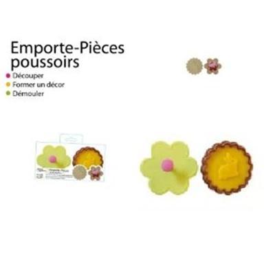 SAVEUR ET DEGUSTATION Set de 2 emporte-pieces poussoir Fleur\