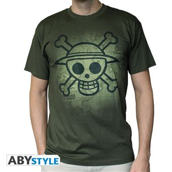 t-shirt one piece kaki skull with map used