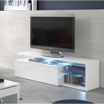 9933 sur ledd meuble tv 150 cm avec rangements et tablettes en verre meuble tv achat prix fnac