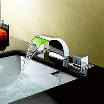 Robinet salle de bain cascade avec deux poignées, style contemporain ...