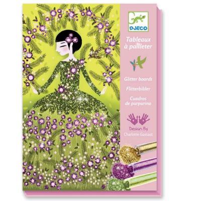 Kit loisirs creatifs Djeco Tableaux à paillettes Robes de rêves Enfants 7 à 13 ans