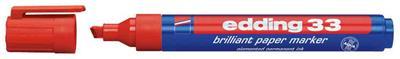 edding - 33 marqueur brillant paper, pointe biseautée, rouge