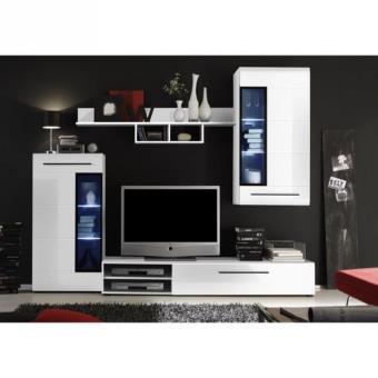 Skin meuble tv mural avec clairage led 235cm blanc brillant meuble tv achat prix fnac - Eclairage led pour meuble tv ...