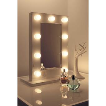 70 sur miroir de maquillage hollywood blanc lampes led. Black Bedroom Furniture Sets. Home Design Ideas