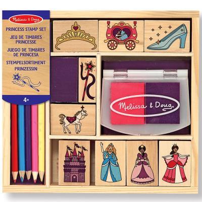 Set de 9 tampons en bois Princesses 2 encreurs 5 crayons Enfants 4 ans +