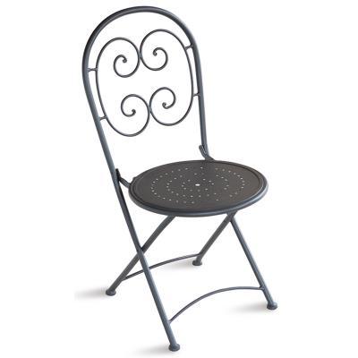 Chaise pliante de jardin en fer forgé coloris gris anthracite - Dim : H 91 x 55 x P 41 cm -PEGANE-