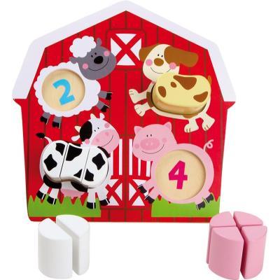 Puzzle en bois pour apprendre à compter avec les animaux de la ferme
