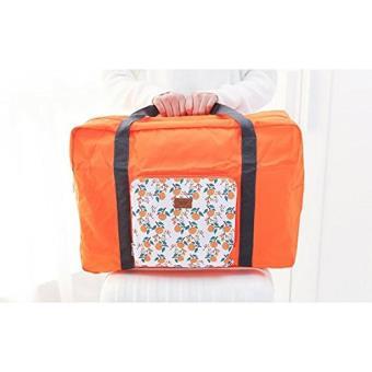 NOVAGO® Grand Sac de Voyage en nylon, pliable et léger, Max 55 litres - Collection Fleurie (Orange)