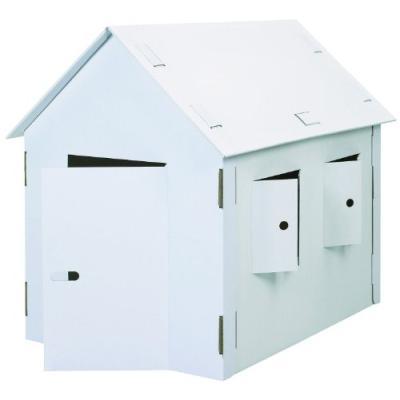 Joypac maison de jeu white line xxl, en carton ondulé stable facile à monter et à démonter, peut êtr