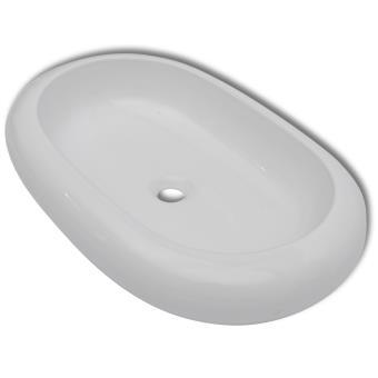 vidaXL Luxueuse Vasque à poser en céramique Ovale Blanche 63 ...