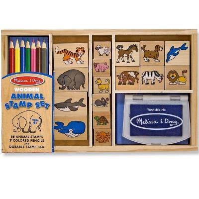 Set de tampons en bois Les Animaux 24 pcs avec encreur et crayons Enfants 4 ans+