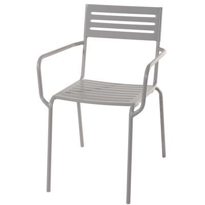 Chaise jardin en fer forgé coloris gris cendré - Dim : H 80 x L 54 x P 60 cm -PEGANE-