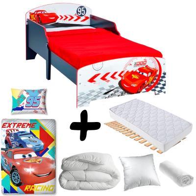 Pack complet Premium Lit enfant Cars Disney = Lit+Matelas & Parure+Couette+Oreiller