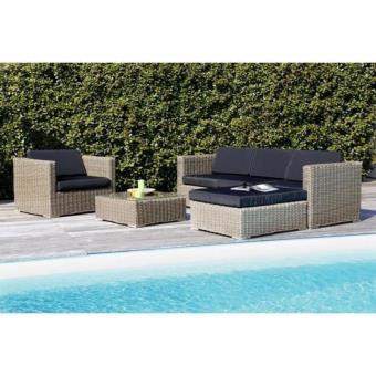 Salon de jardin 5 places en résine/alu marron/gris - Mobilier de ...